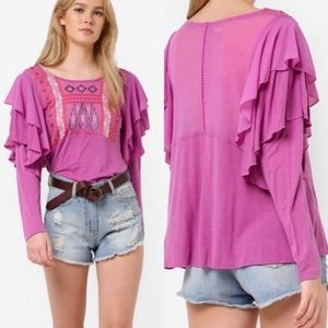 Free People Wisteria Mesh Ruffle Embroidered Top